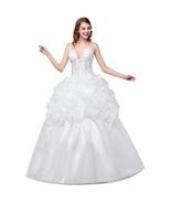 2018 Wedding Dresses White V Neck Bridal Gown Long Formal Ball Gown - £75.26 GBP