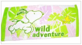 Snoopy & Woodstock Leaf Pattern 34 X 80 Cm Green Wild Adventure Cotton Towel - $10.99