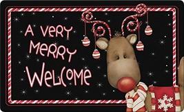 Toland Home Garden Candy Cane Reindeer 18 x 30 Inch Decorative Floor Mat... - $26.34
