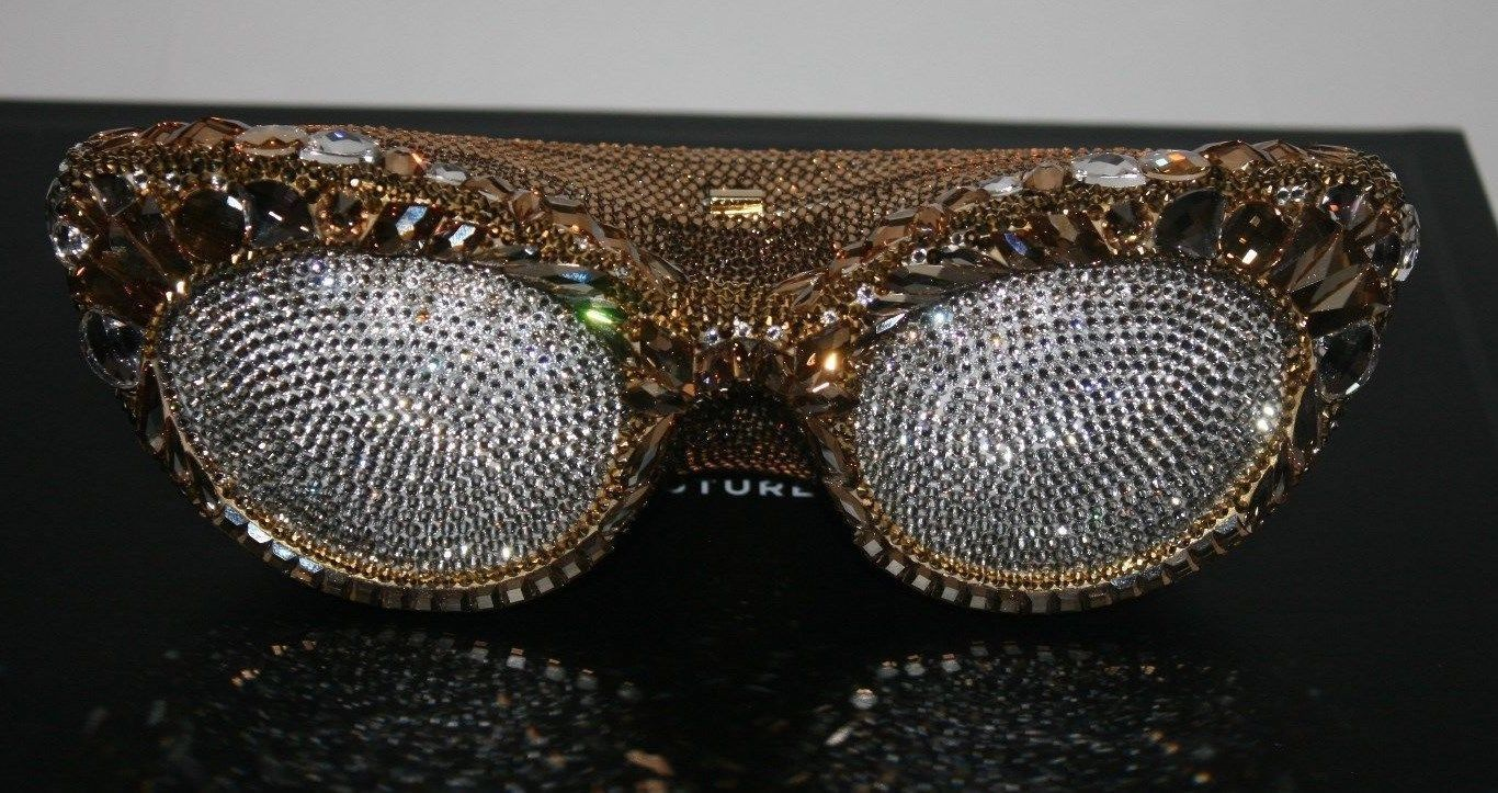 $4995 NIB Judith Leiber Couture Eyeglasses Minaudiere Clutch In Gold