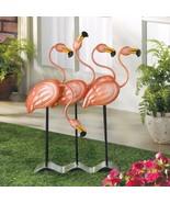 Flock of Pink Flamingos Garden Statue Tropical Décor - $31.63