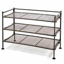 NEW 3 Shelf Metal Organizer Brown Gray Shelving Storage Shoe Rack Closet... - $47.42+