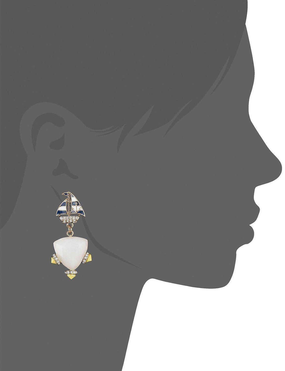 BETSEY JOHNSON 'Ship Shape' Sailboat Faceted Bead Gold-Tone Drop Earrings $40