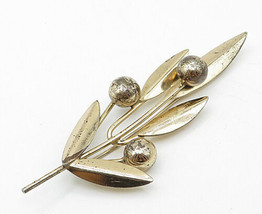 NAPIER 925 Silver - Vintage Gold Plated Modernist Flowers Brooch Pin - BP3469 - $58.31