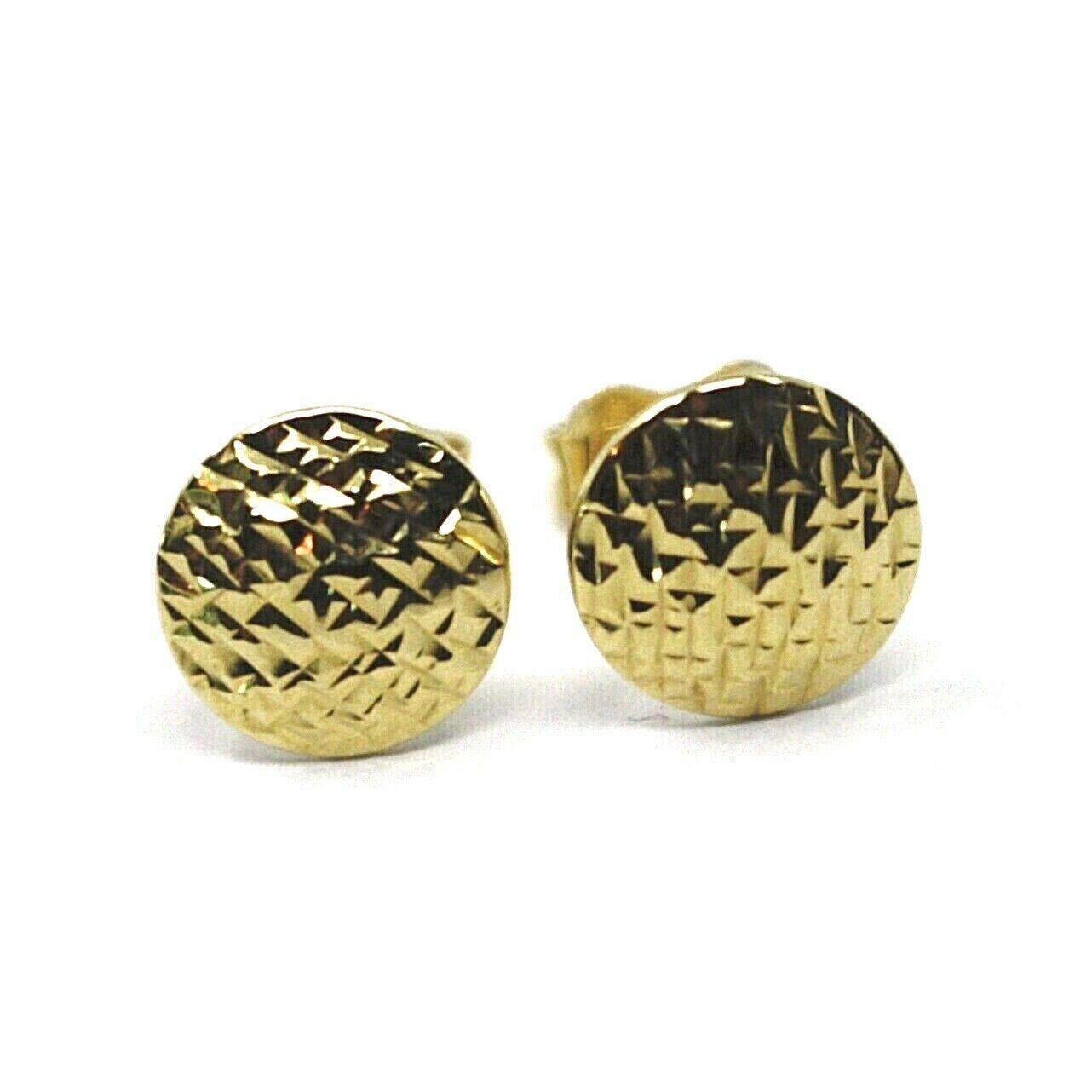 18K YELLOW GOLD BUTTON EARRINGS, DIAMOND CUT WORKED DISCS, 8mm DIAMATER