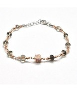 Bracelet in Sterling Silver 925 Laminate Rose Gold with Quartz ospreys and Cu... - $57.48