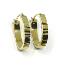 18K YELLOW GOLD CIRCLE HOOPS OVAL SQUARED STRIPED WORKED EARRINGS 20 MM x 4 MM image 2