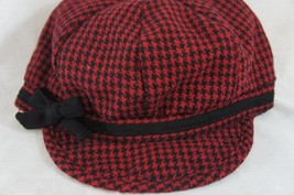 Nine West Hat Sz OS One Size Black Red Houndstooth Newsboy Cap Style 1714 - $16.44