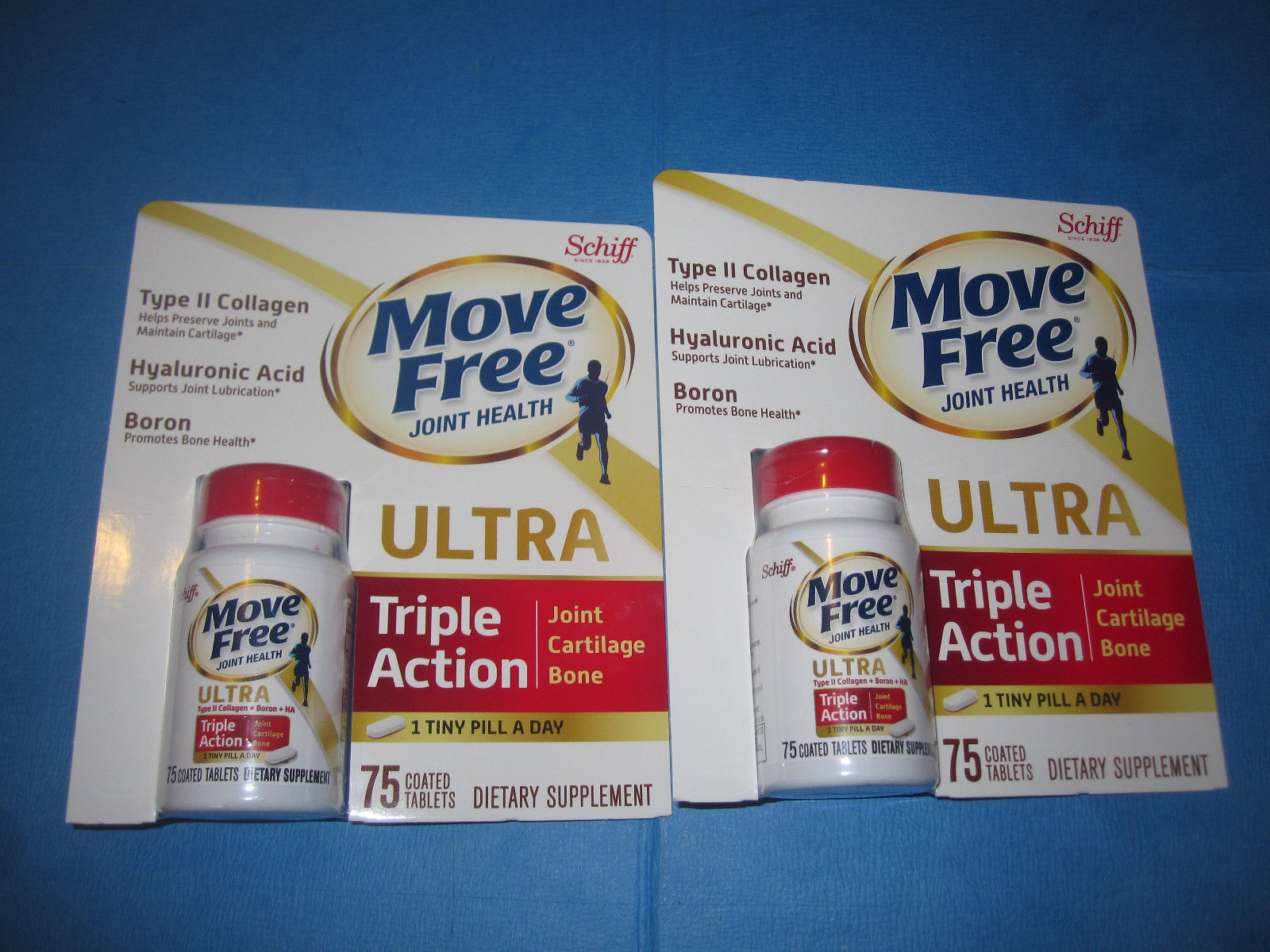 Schiff Move Free Ultra 2 Bottles 75 Tablets Supports Joints Cartilage Bone