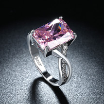 Emerald Cut Pink Crystal Ring 18K White Gold  Made with Swarovski Size 9 - $9.99