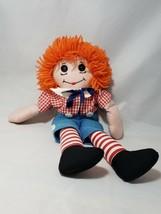 Raggedy Andy Button Eyes Orange Yarn Hair Rag Doll 16 inch - $11.61