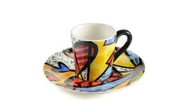 Romero Britto Espresso Cup & Saucer  - Set of  4 includes 2 Cups & 2 Saucers