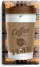 COFFEE TIME PAPER CUP LIGHT SWITCH OUTLET PLATE ROOM KITCHEN CAFE SHOP ART DECOR image 5