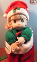 "Precious Moments 1995 christmas stocking NIKKI Doll 16"" blonde hair/blue... - $34.65"