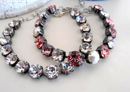 Rose Pink Multi-colors Tennis Cup chain Bracelet w/ Swarovski Crystal Ch... - $46.00+