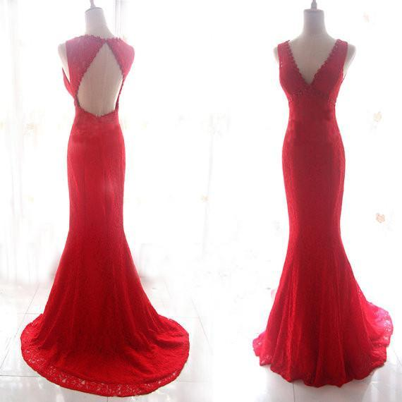 Red Prom Dresses,Lace Prom Dress,Mermaid Prom dress,Prom Dresses,Evening dresses