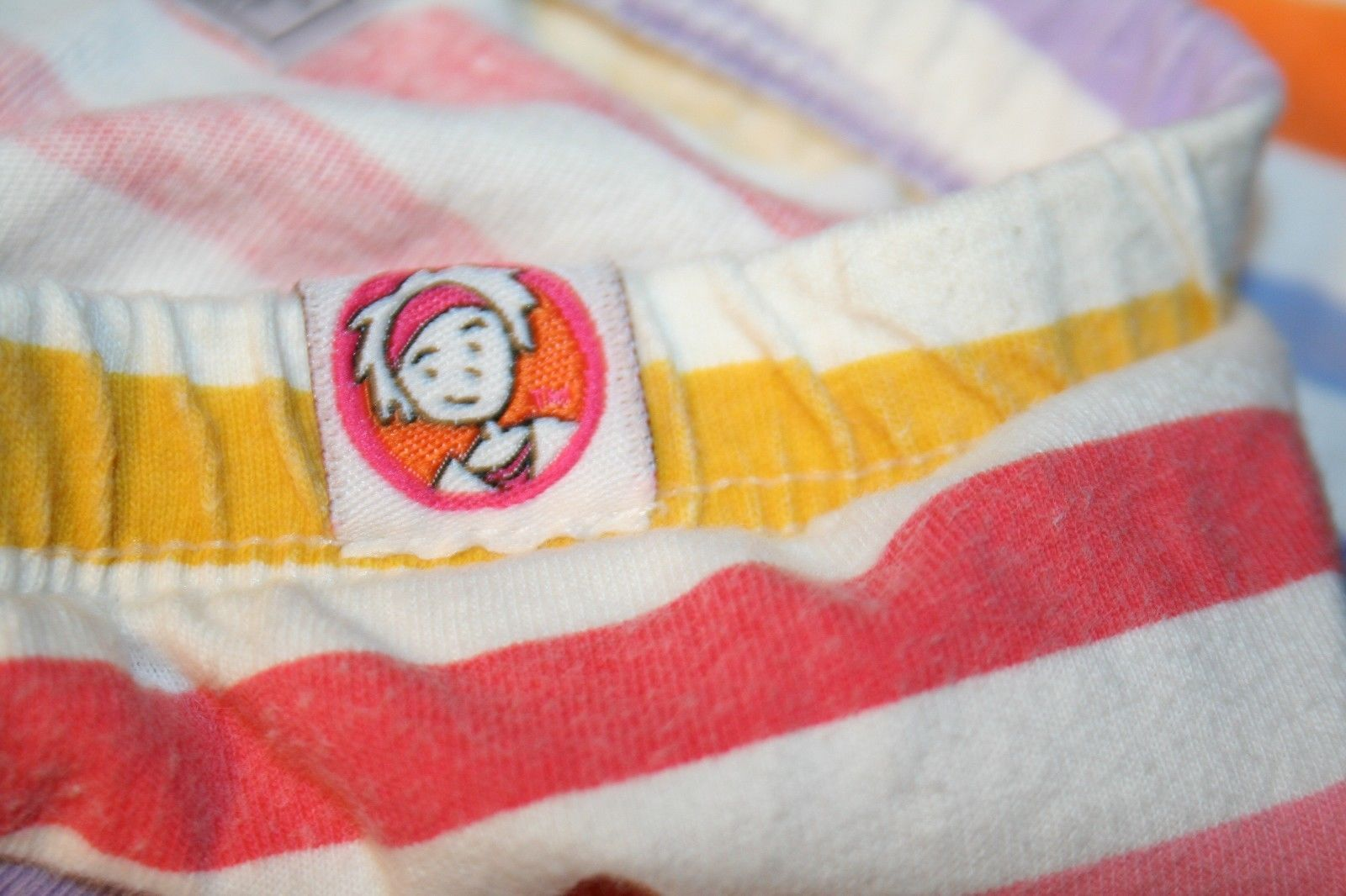 LITTLE MISS MATCHED Girls XS 3T-4T Orange Pink blue Yellow striped leggings pant