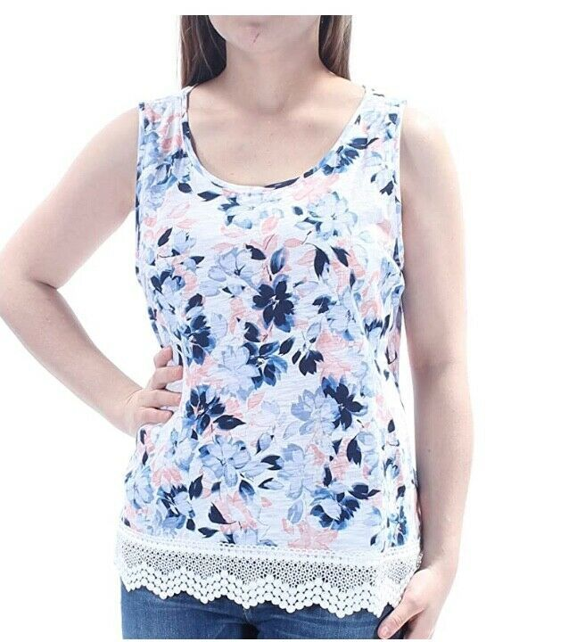 Primary image for Maison Jules Women's Floral Sleeveless Crochet Trim 100% Cotton Top Size X-Large