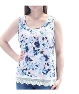 Maison Jules Women's Floral Sleeveless Crochet Trim 100% Cotton Top Size X-Large - $14.30