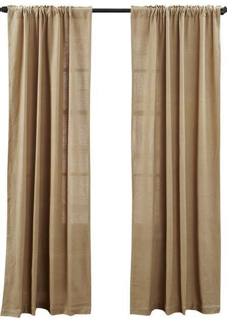 """Country Curtains Deluxe Burlap Natural Tan Panels 84"""" L x 40"""" W - $49.95"""