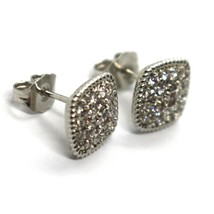 REBECCA BRONZE EARRINGS, 10 MM, SQUARE, CUBIC ZIRCONIA, B14OBB56, MADE IN ITALY image 2