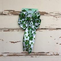 Darice St Patrick Days Decor - Premade White Green Tophat Glitter Bow - $13.95