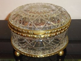 VINTAGE FRENCH CUT GLASS BRONZE ORMOLU CASKET ROUND BOX BACCARAT STYLE 4... - $1,200.00