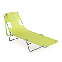 Folding Chaise Lounge Green Heavy Duty Portable Recliner Outdoor Comfort... - $38.99