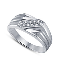 14k White Gold Finish 925 Sterling Silver Mens Wedding Engagement Diamond Ring - £69.04 GBP
