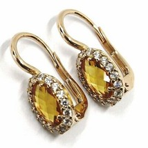 18K ROSE GOLD LEVERBACK FLOWER EARRINGS OVAL YELLOW CRYSTAL CUBIC ZIRCONIA FRAME image 2