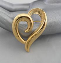 Napier Brooch Gold Heart Brooch Napier Jewelry Brooch Signed Jewelry - $35.00