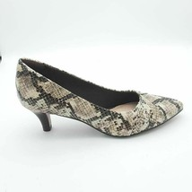 Collection By Clarks Womens Linvale Jerica Slip On Pumps Taupe Snakeskin 6M - $32.66