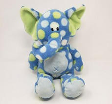 "16"" First Impressions 2012 Baby Blue Polka Dot Elephant Stuffed Animal Plush Toy - $36.47"