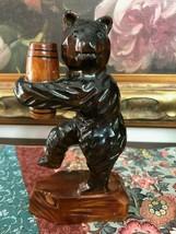 Antique Wooden Hand Carved BEAR Holding Barrel Original Solid Wood One o... - $193.50