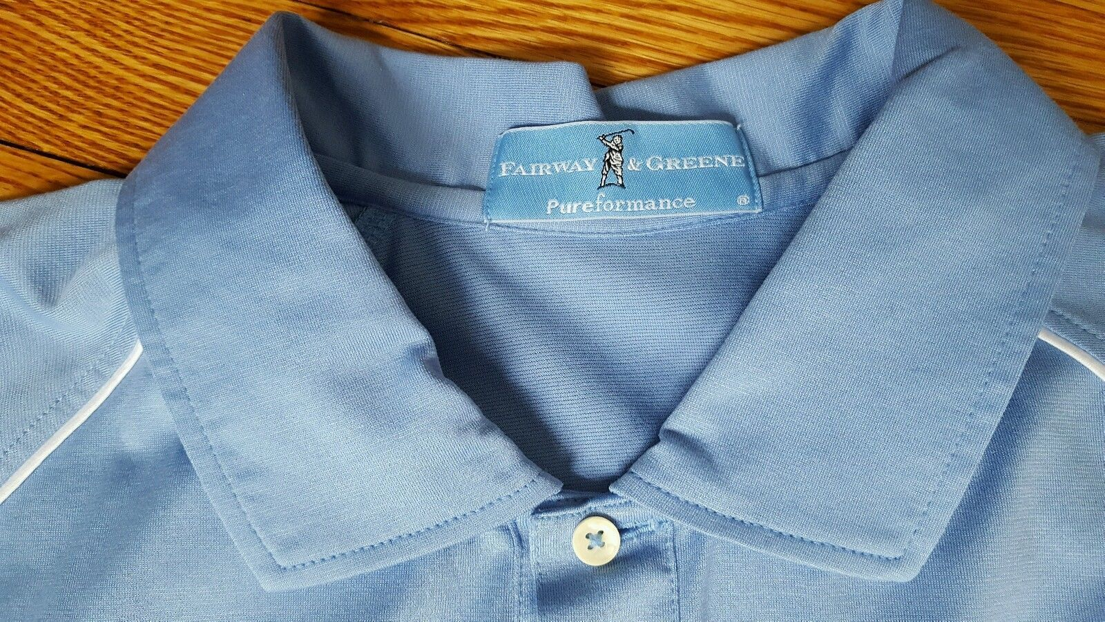 FAIRWAY & GREENE Pureformance Golf Polo Shirt Mens Size Large Blue