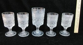 Wine & Water Goblets Anchor Hocking Wexford Glass Diamond Vintage Set 5 - $19.75