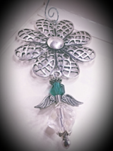 Beaded Guardian Angel Charm,Emerald green crystal angel gift charm,home ... - $5.00