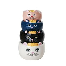 Pacific Giftware Adorable Queen Cats Nesting Ceramic Measuring Cup Set o... - $19.79