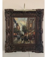 Wall Canvas Oil Painting With Crown Antique Gold Frame - Street View - $3,959.99