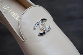100% Authentic NEW Chanel Beige Slip On Crystal CC Logo Loafers Shoes Flats image 9