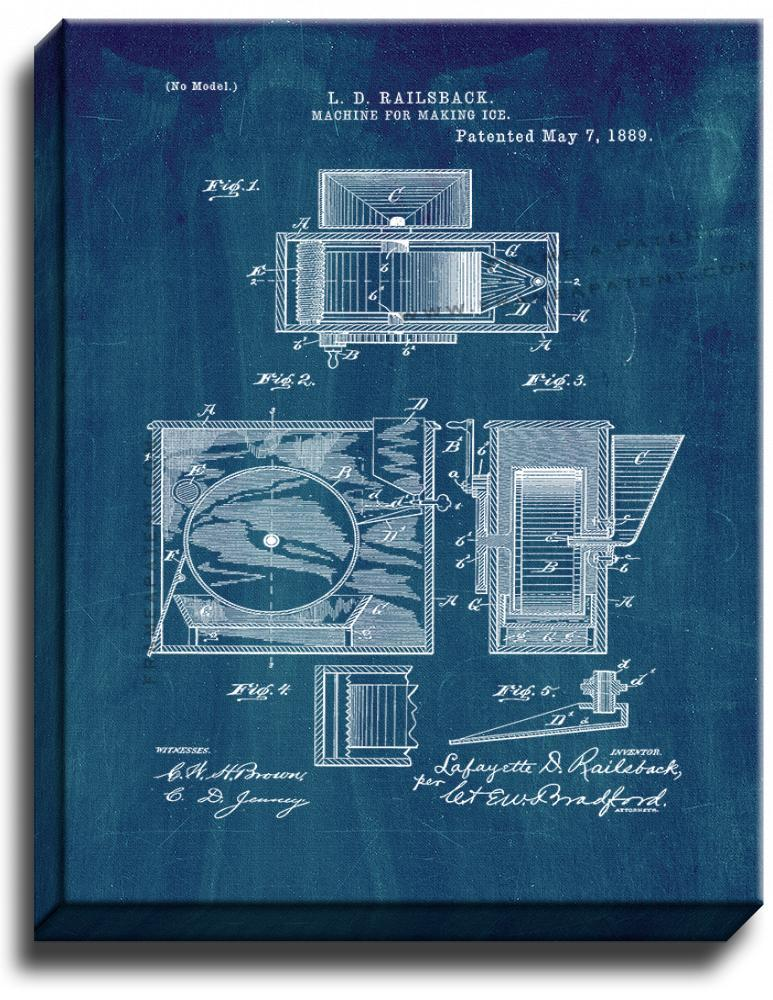 Primary image for Machine For Making Ice Patent Print Midnight Blue on Canvas