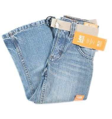 Lee Dungarees Kids Relaxed Bootcut Zip Jeans Adjustable Waistband 4S Blue Denim
