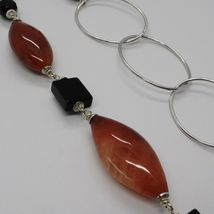 Silver necklace 925, Jasper Oval, Onyx, Length 90 CM, large circles image 5