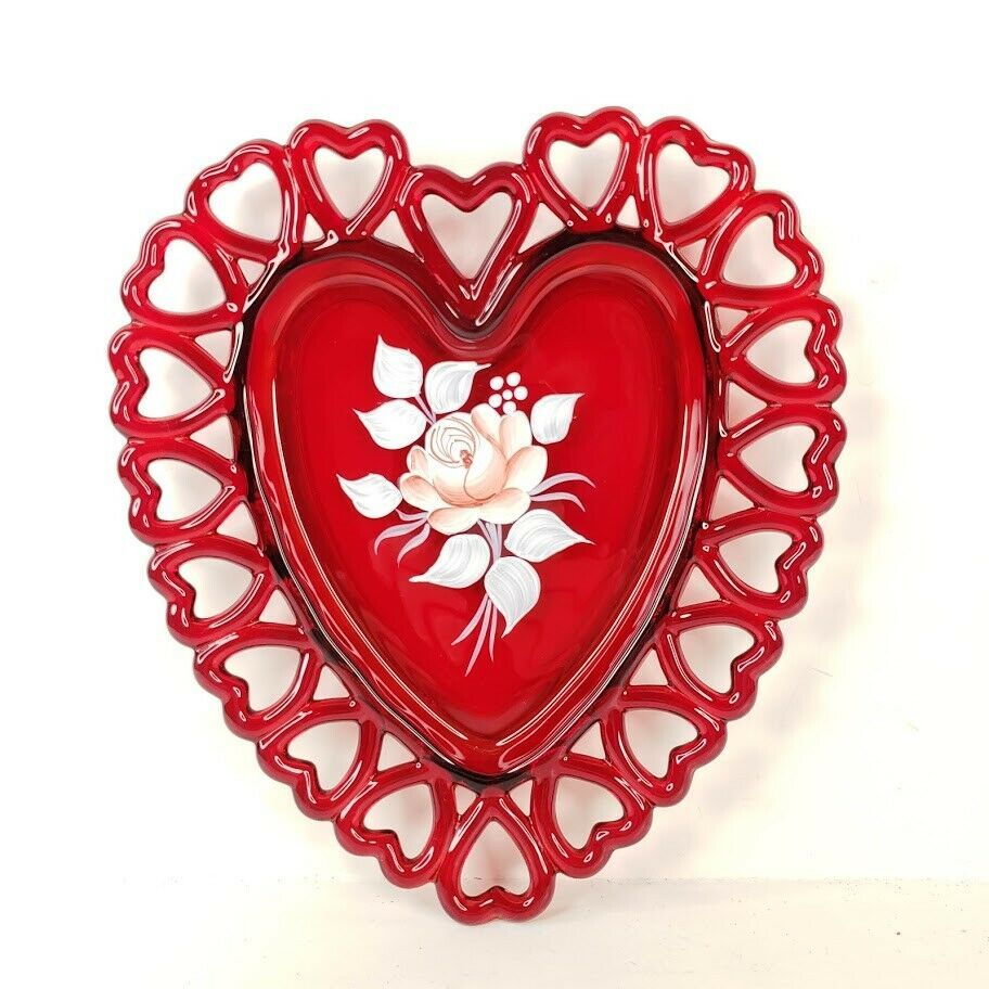 Vintage Westmoreland Glass Heart Plate Reticulated Hand Painted Rose Ruby Red - $34.99