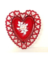 Vintage Westmoreland Glass Heart Plate Reticulated Hand Painted Rose Rub... - $34.99
