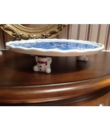 """A S C  Co  Snow Man Carrying Christmas Cookies Cake Pie Dish Blue 10.5"""" - $28.71"""