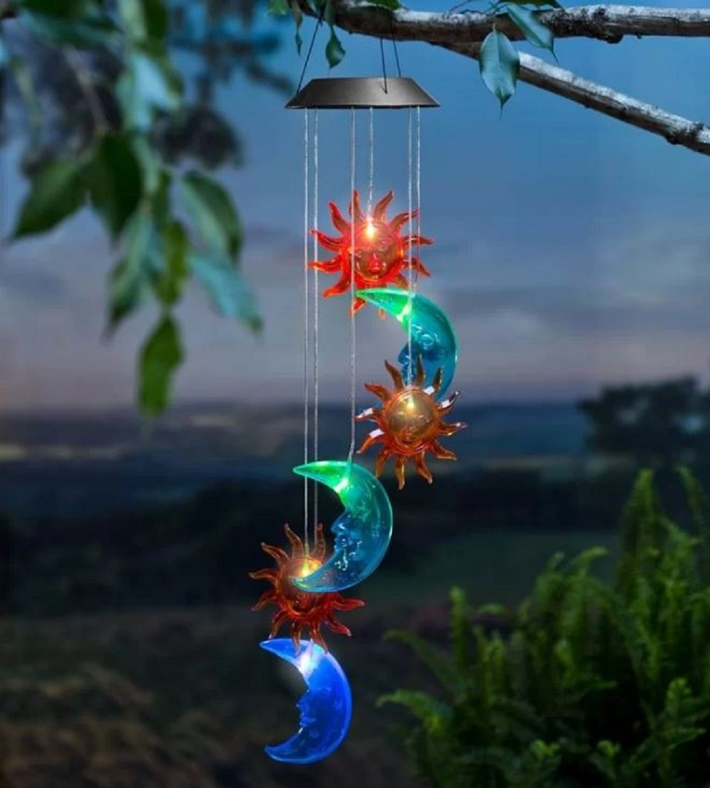 Sun Moon Solar Wind Chime Celestial Colors Yard Deck Patio Porch Garden Decor
