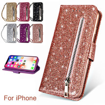 Bling Glitter Leather Wallet Card Holder Zipper Stand Case Fr Samsung S1... - $60.08