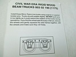 Micro-Trains # 00302190 (1175) Civil War Era Rigid Wood Beam Trucks  N-Scale image 3