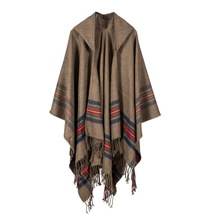 Warm Women Cape Poncho Wrap Shawl Scarf Patchwork Plaid Bohemian Cape Pullover